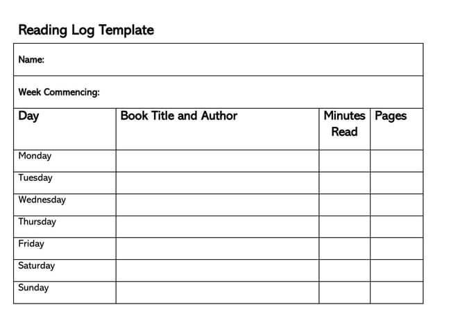 Reading Log Template 23