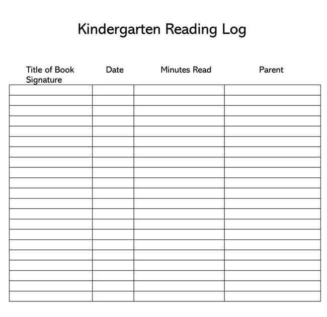 Reading Log Template 29