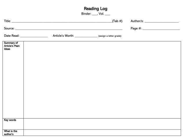 Reading Log Template 30