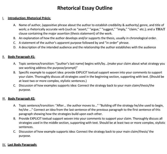 Rhetorical Essay Outline