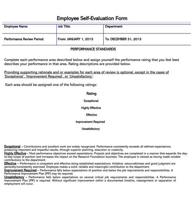 Self Evaluation Template 05