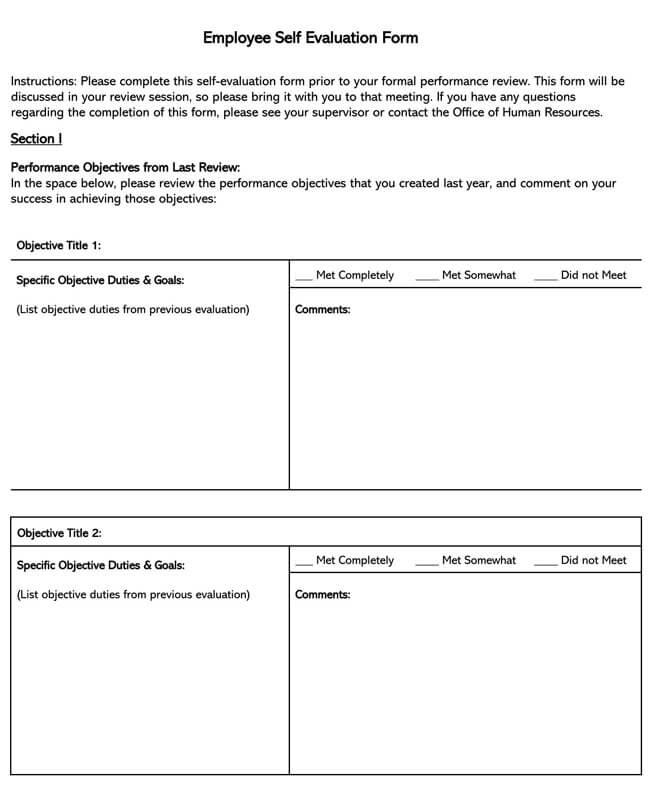 Self Evaluation Template 06