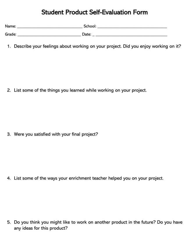 Self Evaluation Template 08