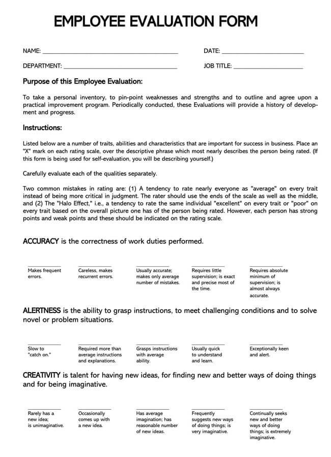 Self Evaluation Template 09
