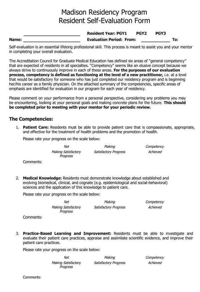 Self Evaluation Template 15