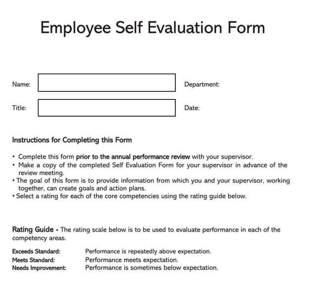 Self Evaluation Template 22