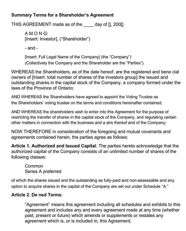 Shareholder Agreement 13