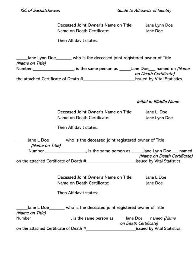 Affidavit of Identity 07