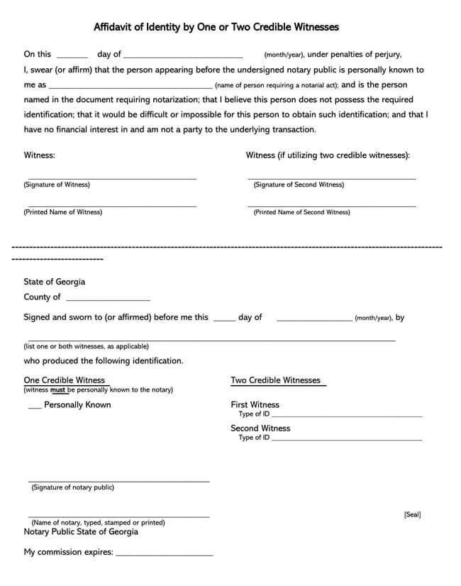 Affidavit of Identity 12