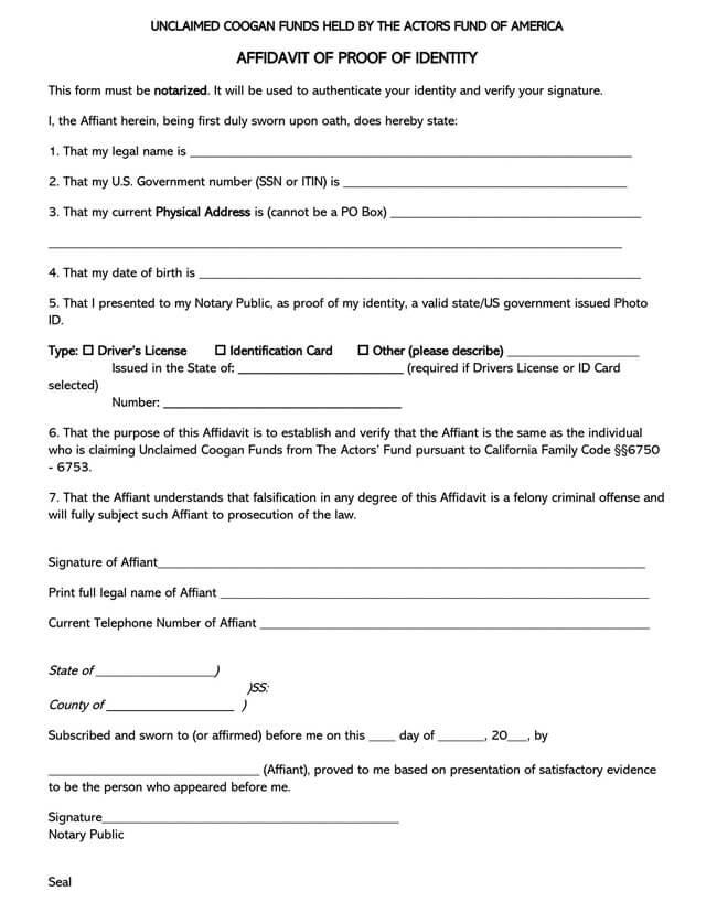 Affidavit of Identity 14