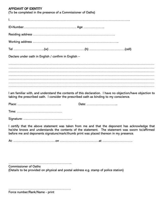 Affidavit of Identity 18