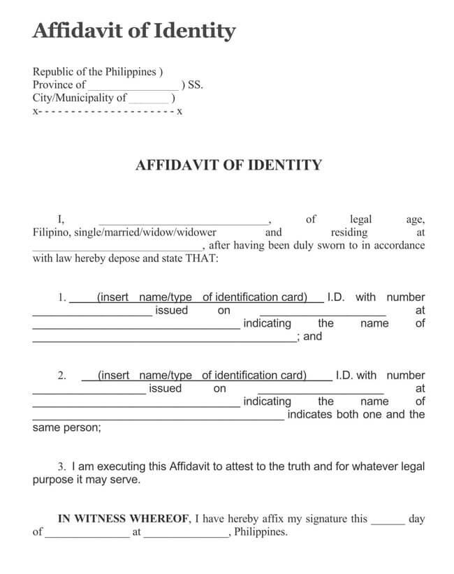 Affidavit of Identity 19
