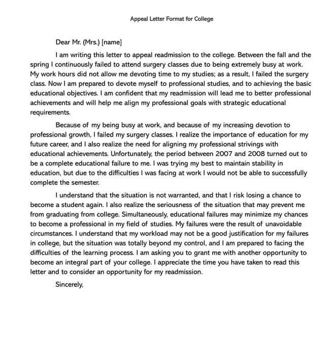 College Readmission Appeal Letter