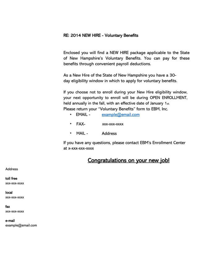 Congratulation Letter for New Employment 06