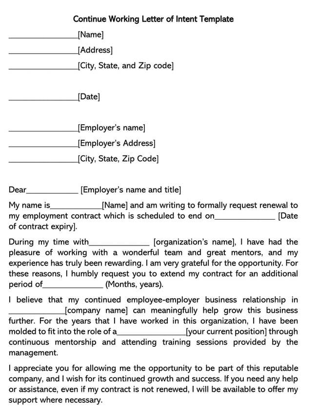 Continue Working Letter of Intent Template 02