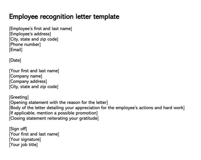 Employee Recognition Letter Template 02