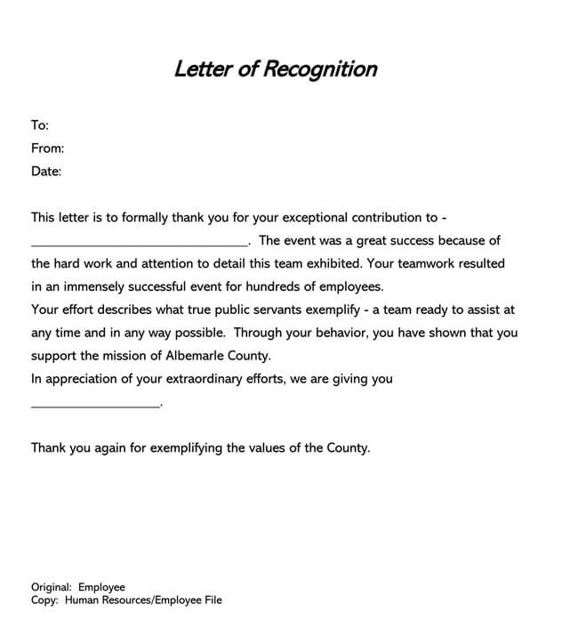 Employee Recognition Letter Template 03