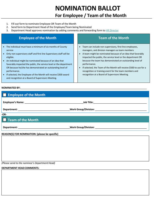 Employee of the Month Nomination Form 04