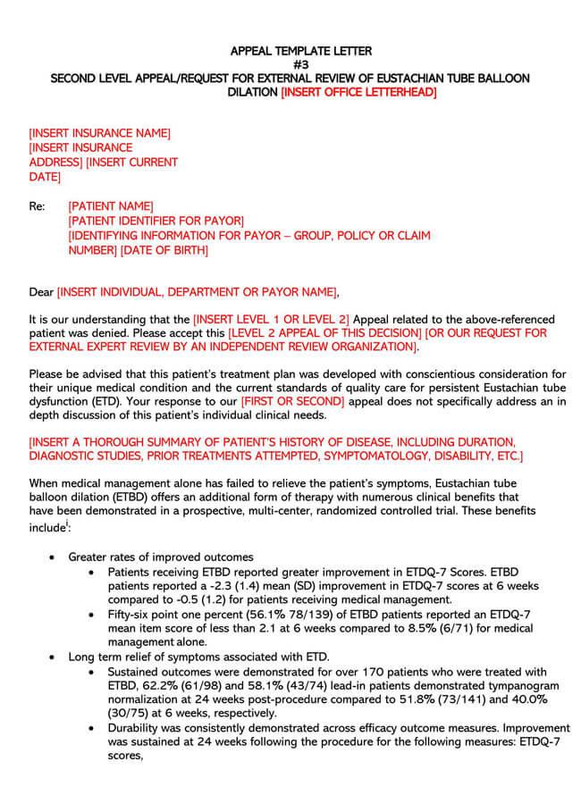 Eustachian Tube Balloon Review Appeal Letter