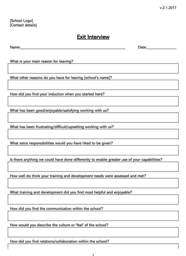 Exit Interview Template 06