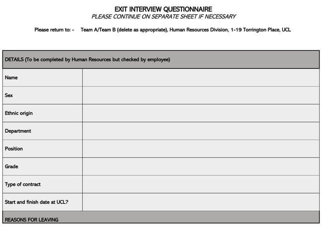 Exit Interview Template 07