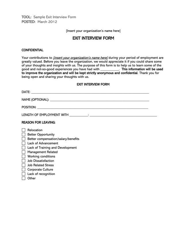Exit Interview Template 10
