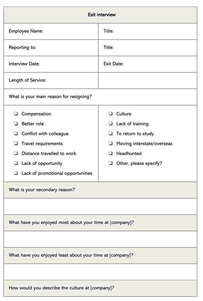 Exit Interview Template 12