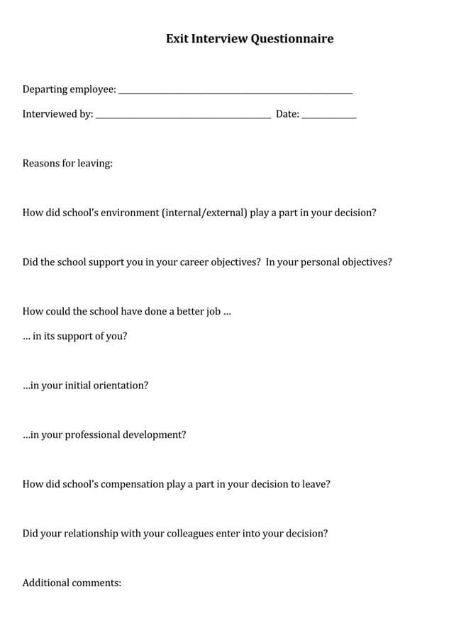 Exit Interview Template 16