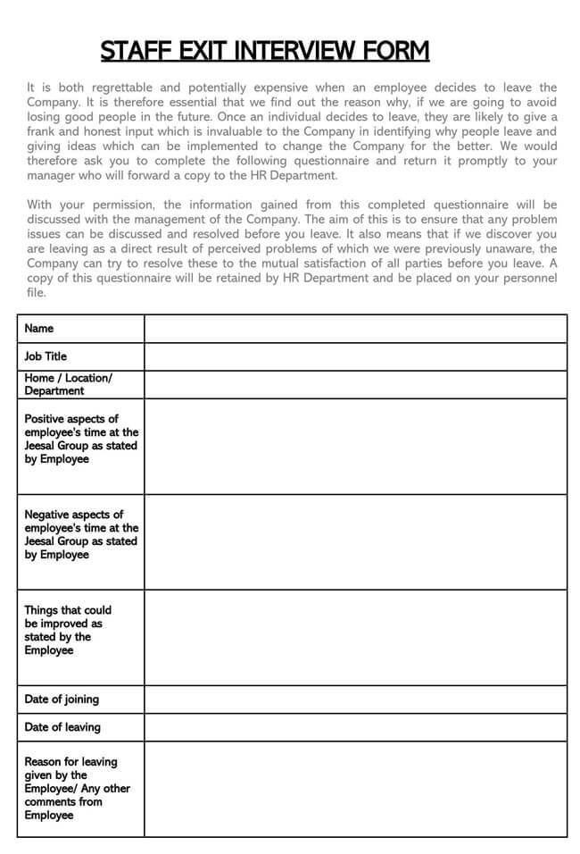 Exit Interview Template 17