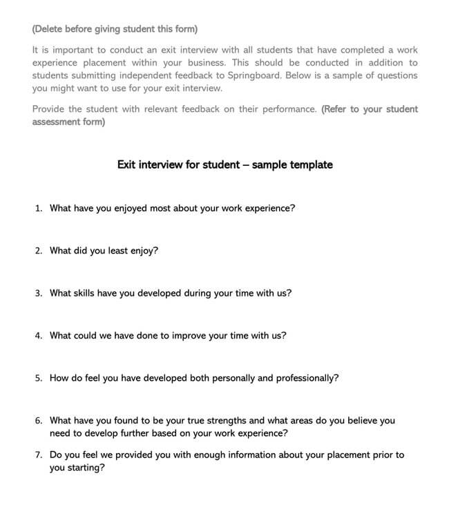 Exit Interview Template 19