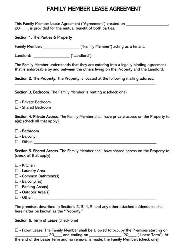 Family Member Lease Agreement