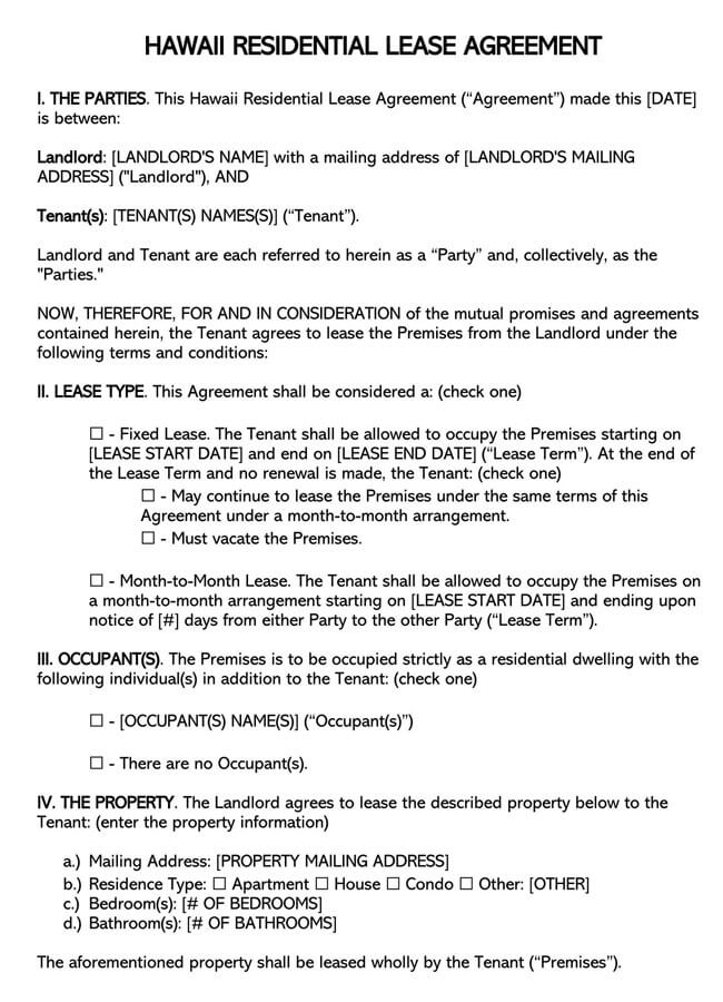 Hawaii Residential Lease Agreement