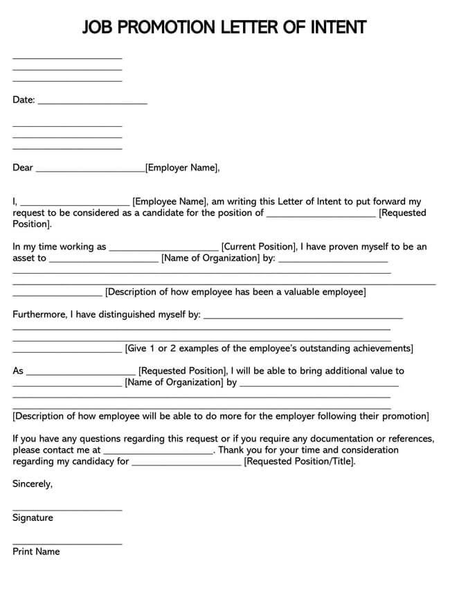 Job Promotion Letter of Intent 01