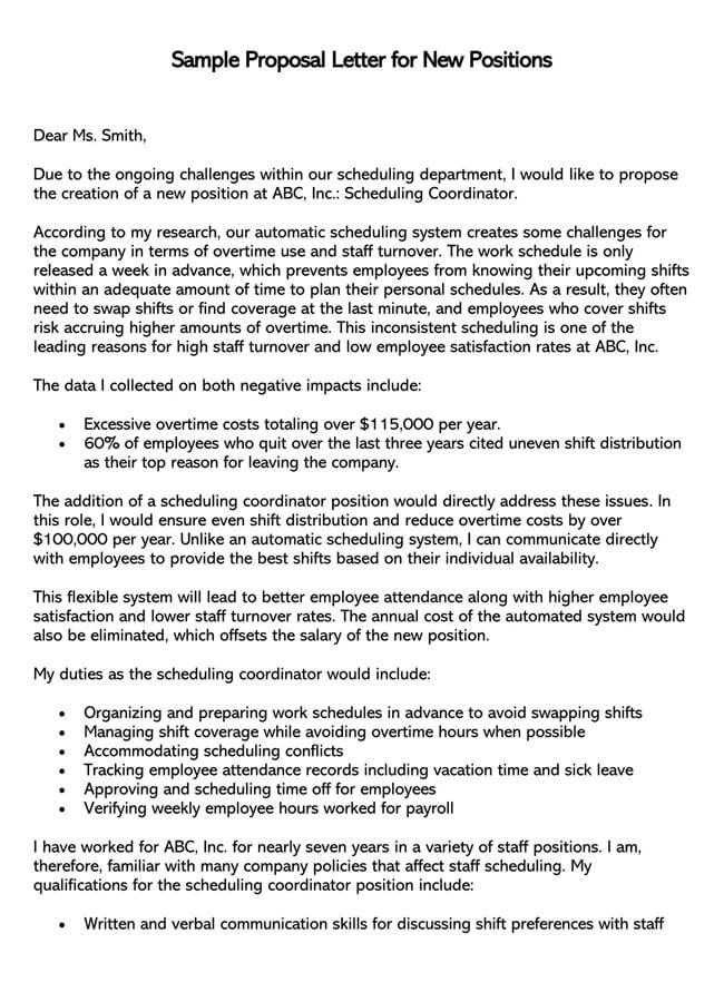Job Proposal for New Job  Position 01