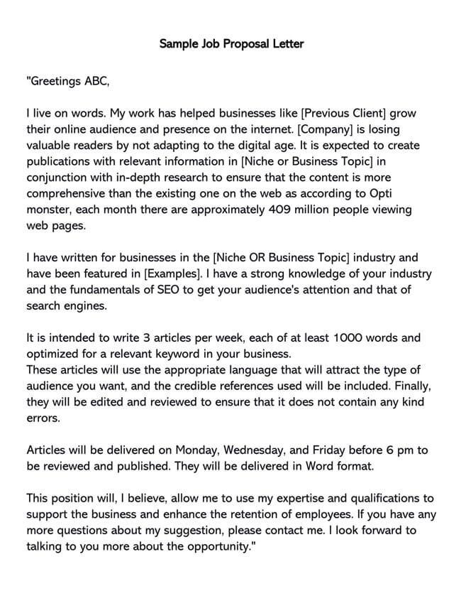 Job Proposal for New Job Position 02