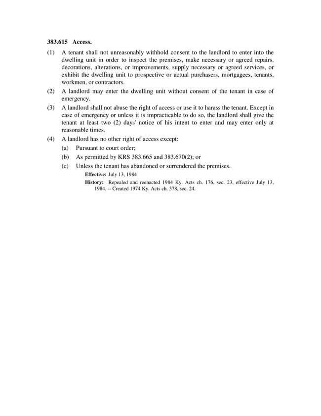 Kentucky Statute 383 615