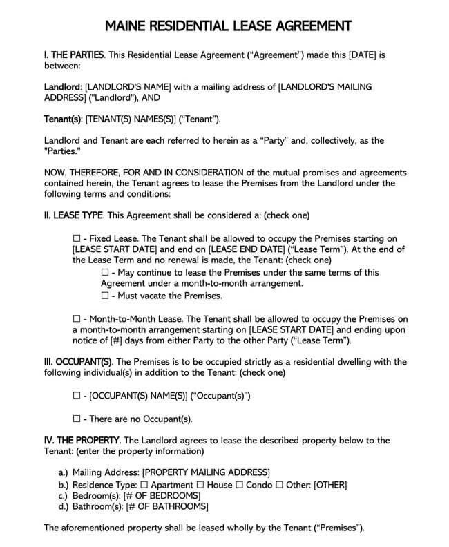 Maine Residential Lease Agreement
