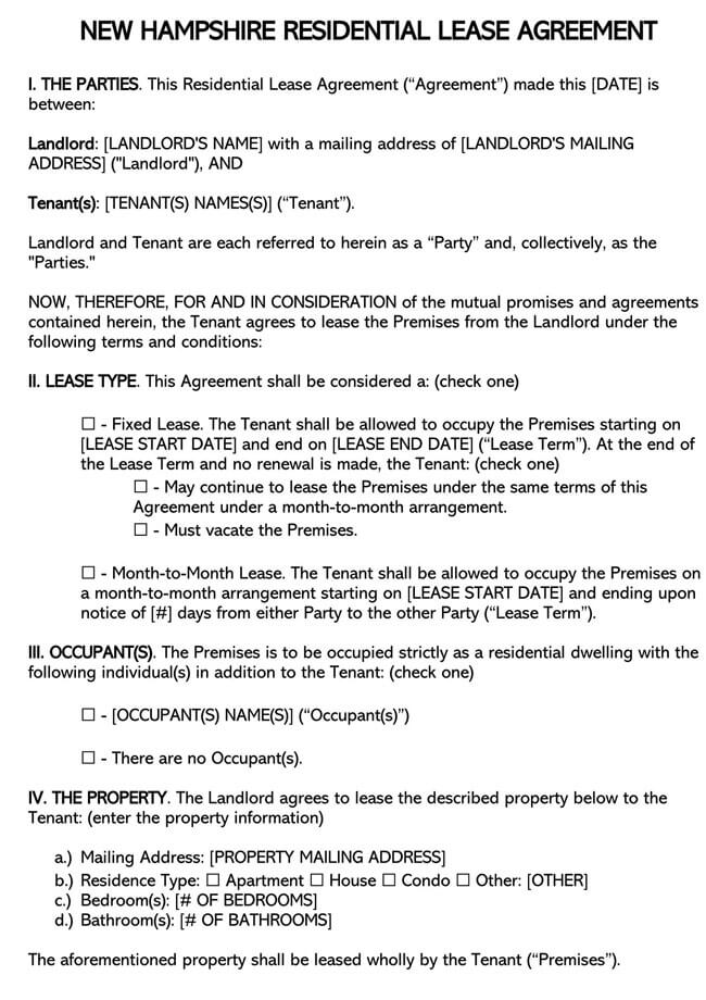 New Hampshire Residential Lease Agreement