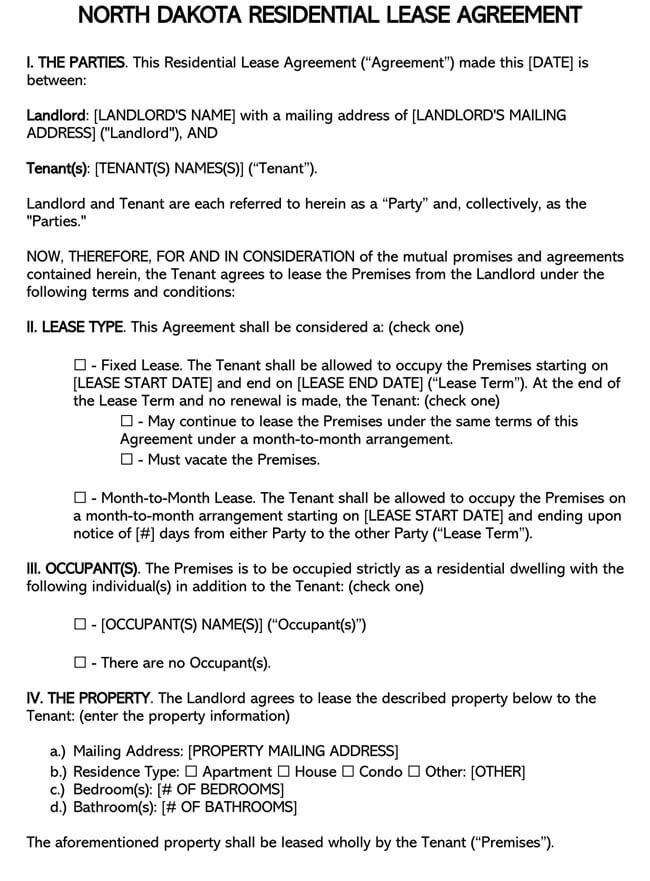 North Dakota Residential Lease Agreement