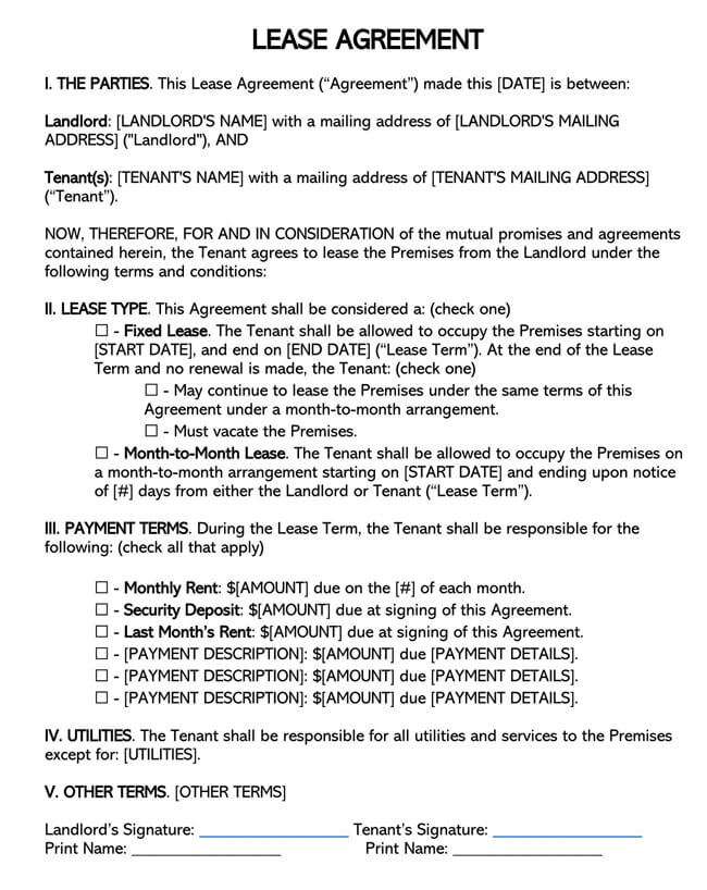 One1 Page Residential Lease Agreement