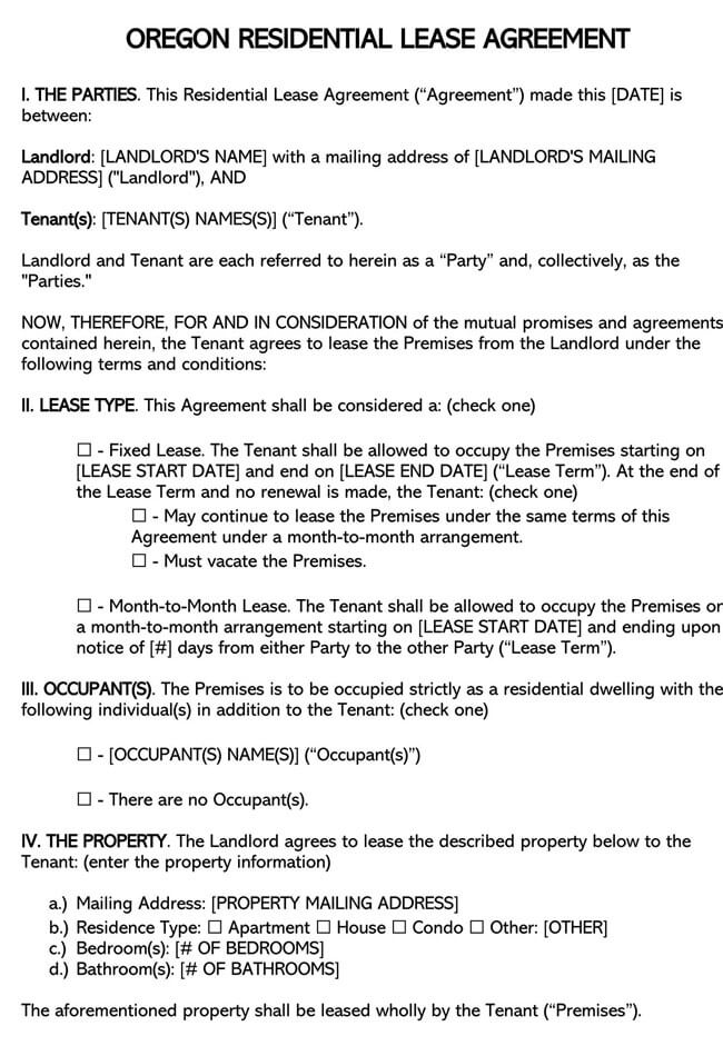 Oregon Residential Lease Agreement