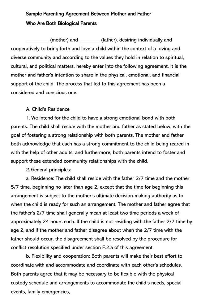 Parenting Plan Template 07