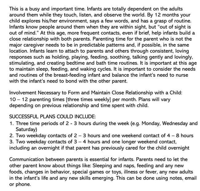 Parenting Plan Template 17