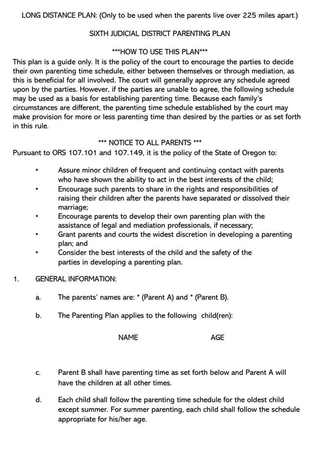 Parenting Plan Template 19