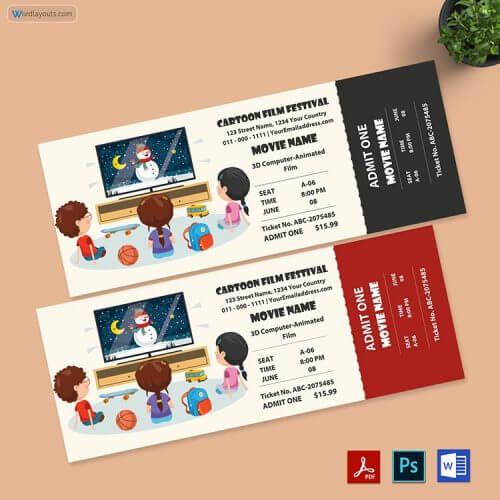 Cartoon Movie Ticket Free