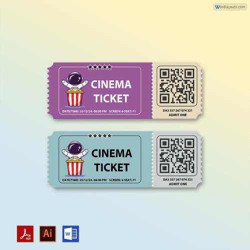 Editable Movie Ticket Free