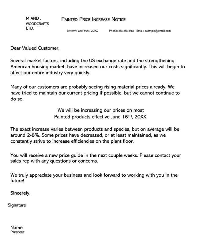 Price Increase Letter Template 02