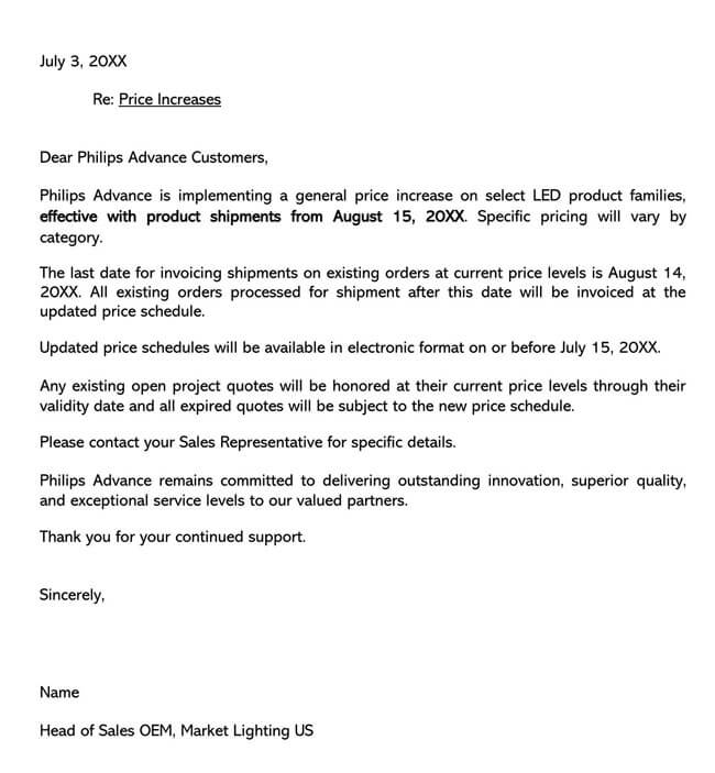 Price Increase Letter Template 03