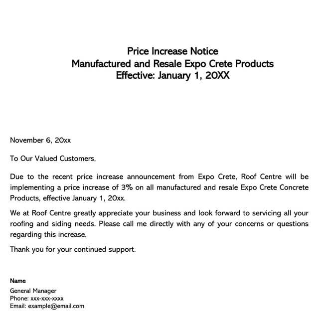 Price Increase Letter Template 04