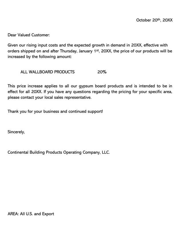 Price Increase Letter Template 07